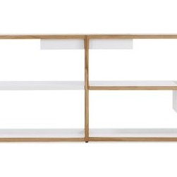 """Case - Lap Shelving Low Frame - Marina Bautier's Lap Shelving System (2010) takes storage in a refreshingly new direction, giving you a modular solution that you can customize to suit your needs. Like many of us, Bautier realized the redundancy in storing objects in a box or on a tray that is then placed on a shelf. Instead, her solution eliminates the shelf where it's not needed; and replaces it with a powder-coated sheet metal box or tray that hangs from the solid oak frame. (The name """"Lap"""" refers to how the metal overlaps the wood structure.) These metal storage components include a Deep Box, Shallow Box, Tray Shelf, Bookshelf (U-shaped to keep books in place) and Flat Shelf. How you arrange the components is up to you, and they can be rearranged at any time. To expand the solid oak frame widthwise, simply add any number of Extension Units. Ships flat; simple assembly required. Made in Lithuania. DWR Exclusive"""