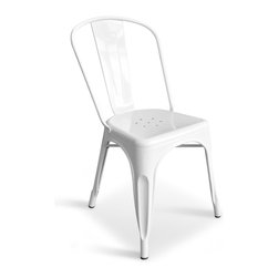 Inmod - Bastille Cafe Stacking Chair (Set of 2), White - The Bastille Cafe Stacking Chair evokes Parisian street scenes of people enjoying a drink or a meal at a sidewalk cafe, watching passersby and relaxing.