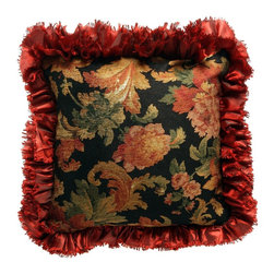 "Brandi Renee Designs - BRD Original Old World Rose Print with Burgundy Ruffle Trim Pillow, 16"" - This rich old world styled pillow in a deep black chenille and autumn colored roses surrounded by a multi layer faux silk ruffle that is family and pet friendly will grace any sofa or pillow it is placed on."