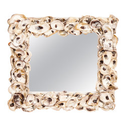 """ecofirstart - Oyster Shell Mirror - """"Mirror, mirror on the wall, who's the freshest one of all? 'Tis the pearl-bearing delicacy of the sea bordering the squared, sacred reflection of thee."""" And so goes the self-talk of this alluring looking-glass, captivated by its own coastal inheritance and beachy beauty to behold by EcoFirstArt."""