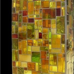 Bonnie's Vase - A symphony of the earth-toned hues of autumn adorn this beautiful mosaic glass vase. The rich golds, rusts and greens evoke the warmth of a day in the country, while the angular shapes of the glass tiles lend a modern air.