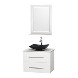 "Wyndham Collection - Centra 30"" White Single Vanity, White Carrera Marble Top, Black Granite Sink - Simplicity and elegance combine in the perfect lines of the Centra vanity by the Wyndham Collection. If cutting-edge contemporary design is your style then the Centra vanity is for you - modern, chic and built to last a lifetime. Available with green glass, pure white man-made stone, ivory marble or white carrera marble counters, with stunning vessel or undermount sink(s) and matching mirror(s). Featuring soft close door hinges, drawer glides, and meticulously finished with brushed chrome hardware. The attention to detail on this beautiful vanity is second to none."