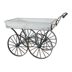 Uttermost - Generosa Weathered Flower Cart - Eliza Doolittle would have given anything to have this gorgeous, weathered flower cart. Park this in your front yard or backyard and fill it to overflowing with bulbs and flowers. Or wheel it into your living space to hold your plants.