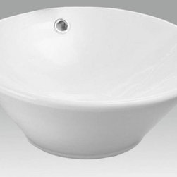 """White china vessel lavatory sink with overflow. - AP-1671 White Valencia vessel sink. Outside dimensions 16 1/2"""" Diameter x 6 1/4"""" deep. With overflow"""