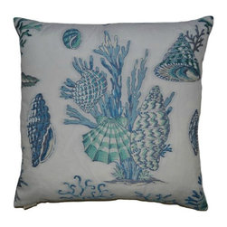DV Kap - Sur La Mer Coastal Pillow - Blue - Rich, embroidered details make up these incredible under-the-sea coastal pillows splashed with blue and aqua tropical shells and coral images on an ivory background.  Completed with a hidden zipper and down-insert.