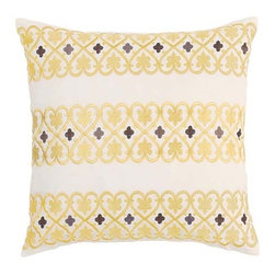 Waverly - Fantasy Fleur Pumice 16 x 16-Inch Embroidered Pillow - - Transform any bedroom with the Waverly Fantasy Fleur Bedding Collection. Ensemble features a tree-of-life design with leaves and fruit accents brought to life in warm hues of yellow, stone grey, charcoal grey with cream and ivory contrasts.  - Embroidered 16-Inch square pillow  - Hearts and clover trellis pattern on cream ground with self piping  - Hidden zipper closure  - 100% cotton twill  - Spot Clean Only Waverly - 13546016X016PUM