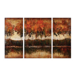 Uttermost - Uttermost Trilakes 56x36 Canvas Art I, II, III (Set of 3) - Rich, vibrant earth tone colors are featured in these hand painted landscapes. The canvases are stretched and mounted on wood stretching bars. Due to the handcrafted nature of this artwork, each piece may have subtle differences.
