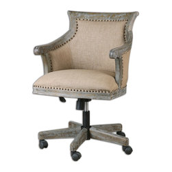 Uttermost - Uttermost Kimalina Linen Accent Chair 23175 - Toasty beige linen on a deeply grained, dark weathered hardwood frame with detail carvings and antique brass accent nails. Rolling casters, swivel, and adjustable height.