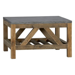 Bluestone Coffee Table - This coffee table has the perfect weathered look. I love the shapes in the base, too.