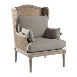 Christopher French Country Caned Back Linen Salon Wing Chair - With under stuffed down blend loose cushions in Dusty Grey, you will sink right into the Christopher Salon Chair. It's Oak frame is accentuated with cane on the seat and armrests all finished in Washed Grey.