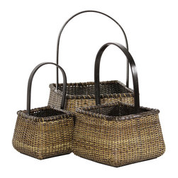 Oriental Furniture - Rattan Square Handle Basket ( Set of 3 ) - These elegant, earthy nesting baskets were hand crafted from the finest split vine rattan.  The handles  are constructed from bent wood and finished in dark mocha stain. This set has many interesting and creative uses, such as displaying, storing or carrying magazines, crafting kit, dry plants, and more.