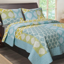 None - Avalon Contemporary Quatrefoil 3-Piece Quilt Set - Green,blue,white and mimosa blend together in a quatrefoil and leaf motif to create this contemporary patchwork quilt set. Oversized for better coverage,this brushed microfiber quilt is filled with cotton for comfort and warmth.