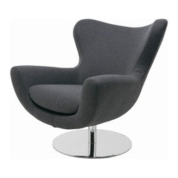 """Nuevo Living - Conner Modern Lounge Chair by Nuevo Living, Dark Grey - The Conner Modern Lounge Chair by Nuevo Living will be a fun, stylish and cheerful addition to any modern or contemporary space. Padded in fire retardant CFS foam and upholstered in light or dark grey wool, this lounger is the epitome of comfort. As you feel the high back wrap around you, you'll feel weightless as you swivel on the stainless steel pedestal base. Conner measures 34.75"""" high, 37.5"""" wide and 32.75"""" deep. Weighing 82 pounds, Conner will be delivered to you by freight carrier."""