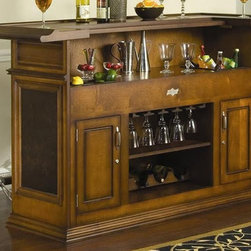 American Heritage - American Heritage Sonata Bar in Suede - This conversation piece offers an inviting atmosphere for you and your guest while ensuring you have everything you need right at hand. The suede finish with burl accents and decorative raised panels create the look while the Sonata bar offers well-designed storage such as locking cabinets for added security, hanging stemware rack, wine storage and a removable ice bin and bottle well. - 600017SD-S.  Product features: Brushed steel footrest and hardware; Removable wine storage rack; Hanging stem ware rack; Locking cabinets for added security; Drink mixing and cutting ledge; Removable ice storage and bottle wells; Open shelving for ample storage; Suede finish. Product includes: Bar Base (1); Bar Top (1). Bar in Suede belongs to Sonata Collection by American Heritage.