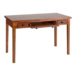 Holly & Martin - Holly & Martin Jackson Desk-Medium Mahogany - Simple yet classic styling makes this desk the perfect addition to your home. With a slide out keyboard tray and a small pen drawer on either side, this convenient desk is the perfect solution for writing or computer space in any room. Crafted with solid birch hardwood legs, a birch veneer top, and gun metal gray hardware, you are sure to enjoy countless years of enjoyment from such a classically beautiful piece.