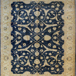 """ALRUG - Handmade Navy Blue Oriental Oushak Rug 9' 1"""" x 11' 6"""" (ft) - This Afghan Oushak design rug is hand-knotted with Wool on Cotton."""