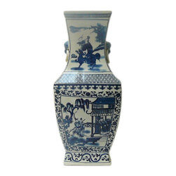 Golden Lotus - Chinese Blue & White Porcelain Hexagon Shape Scenery Vase - This is a traditional Chinese decoration vase in blue & white color with detail combination of oriental flower pattern and scenery theme. ( some blurry on the graphic )