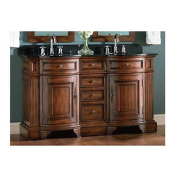 Belle Foret - Double Basin Vanity w Black Granite Top in Da - Manufacturer SKU: BF80052R. Includes:. 2 undermount black porcelain basins. Antique Brass cabinet hardware. Faucet Not Included. Double Basin Vanity. Dark Cherry finish. Black Granite top and backsplash. 4 functional drawers and 2 faux drawers. Doors open to storage compartment. Pre-drilled for 8 in. center faucet, not included. 60 in. W x 22 in. D x 36 in. H