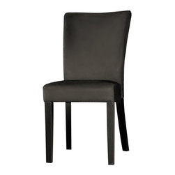 Chintaly Imports - Black Microfiber Modern Parson Side Chair (Set of 2) - Modern Parson side chair. Cushion upholstered in 100-percent polyester microfiber. Wood legs finished in Satin Black.