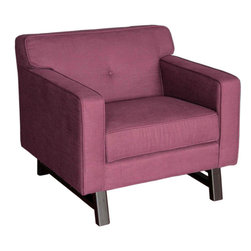 "Armen Living - Halston Chair in Claret Purple Fabric - Adopting suave lines and a sophisticated but playful mood, create a classically ""mod"" aesthetic for your loft, town home or condo."
