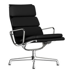 "Herman Miller - Eames Soft Pad Lounge Chair, Swivel Base, Leather - Designed with serious lounging in mind, this chair was made for a little R & R. The iconic team of Charles and Ray Eames wanted to create a chair just for the home — one that was a quiet departure from those typically found in an office environment. Unlike others in the series, this model has a permanent recline and longer back for a more ""stretched out"" feel."
