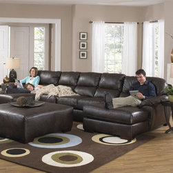 Jackson Furniture - Lawson 3 Piece Dual Chaise Sectional in Chocolate Leather - - Set includes LSF Chaise, Armless Sofa and RSF Chaise