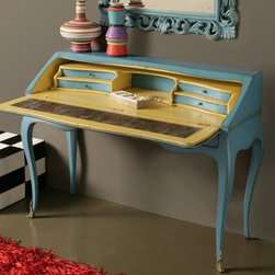 Home & Glamour Italian Designer Desk - Home & Glamour Italian Designer Writing Desk Handmade in Blue Cherrywood.