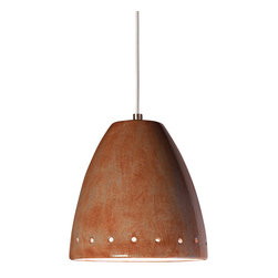 A19 - Realm Mini Pendant Spice- Without Canopy - Realm's smooth surface set off by a line of perforations around the rim is coupled with a unique glossy glaze finish. Great alone or grouped, the opaque ceramic shade blocks glare while providing generous energy efficient down-lighting.