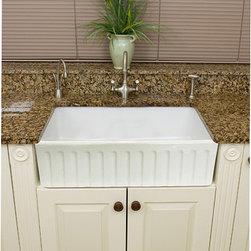 None - Fireclay Fluted Apron 29-inch White Farmhouse KitchenSink - Constructed of fireclay this bathroom sink has a majestic design and is already assembled for use. Featuring a polished white finish,this 29-inch sink has a unique farmhouse style.