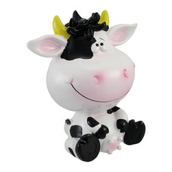 Silly Sitting Black and White Milk Cow Children`s Coin Bank - This cute cow coin bank adds a fun accent to children`s rooms, and may even encourage a saving habit. Made of cold cast resin, it measures 7 inches tall, 6 inches long, and 4 � inches wide. This benevolent bovine is hand painted, giving it a whimsical quality. The bank empties via a plastic plug on the bottom, making it easy to retrieve its contents to put into a savings account. This piece makes a great birthday or holiday gift that is sure to be adored.