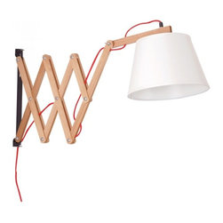 ParrotUncle - Wood Swing Arm Wall Lighting with Fabric Shade - Wood accordion arm with fabric shade form this swing arm lighting. The arm is adjustable as your need. Set it on the wall of your lobby will show much more welcome to your guests. It looks like a shy kitty, putting her head down to your friends. However, it is a bright and shining kitty who can lead the way of you and your family.