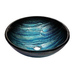 Kraus - Kraus Ladon Glass Vessel Sink - *Inspired by the peaks of a glacier, the Ladon sink features a layered pattern and crisp ice-blue tones that create maximum visual impact in a modern or simple, transitional setting