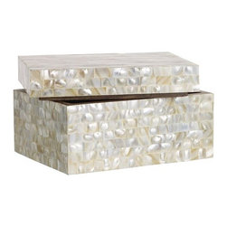 Mother of Pearl Boxes - Small, decorative storage boxes are another mantel essential. This mother of pearl one is stylish and pretty.