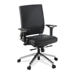 Lorell - Lorell Lower Back Swivel Executive Chair - Leather Black Seat - Executive swivel chair offers a lower back bar for support, leather back, leather seat and multiple adjustments. Functions include pneumatic seat-height adjustment, seat-glide mechanism, 360-degree swivel, tilt, dual-action synchro tilt, tilt tension and tilt lock. Chair holds up to 300 lb. Seat-glide mechanism allows the seat cushion to travel forward and back and then locks into position. With dual-action synchro tilt, back reclines at a 2-to-1 ratio to seat angle, allowing you to recline while keeping seat cushion relatively level to floor. Chrome, five-star, cast aluminum base features hooded dual-wheel casters for easy mobility.