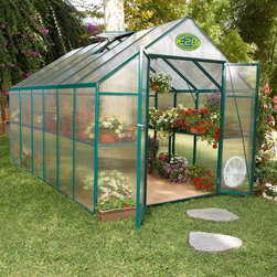 STC - STC EasyGrow Green 8 x 12 Foot Greenhouse Kit - STC079 - Shop for Greenhouses from Hayneedle.com! Additional features:Peak height: 7.16 feetPole height: 5 feet 8 inchesSidewall height: 5.6 feetDoor dimensions: 50W x 72H inchesCrisscross steel wires make the greenhouse sturdyCorrosion-free materialsForest green in color Gardners will delight when they can grow their favorite plants year-round in the STC EasyGrow 8 x 12-foot Greenhouse. This large greenhouse creates optimal conditions for growing all types of plants - from flowers to veggies to herbs and spices - even tropicals. And now you can have your very own greenhouse for your home garden or nursery with this sturdy durable structure. Constructed of powder-coated forest green heavy-gauge extruded aluminum with walls made of 4mm twin opaque acrylic polycarbonate this greenhouse has everything you need to keep your plants healthy and safe. The aluminum-framed hinged French doors and roof and side venting system with an auto opener are just two of this greenhouse's outstanding features that will help your plants bloom.This beautiful greenhouse has a standard roof vent for fresh air entry and side vents ensure proper air circulation. Two shelves span the full length of the greenhouse so you can keep your plants organized and safe as well as create a potting area. The greenhouse is made of corrosion-free materials that can stand up to the elements.EasyGrow's rigid-frame structure has vertical sidewalls and rafters for clear-span construction. There are no columns or trusses to support the roof. Glued or nailed plywood gussets connect the sidewall supports to the rafters to make one rigid frame. The conventional gable roof and sidewalls allow maximum interior space and air circulation.EasyGrow's acrylic polycarbonate has a prism design that captures more light than any greenhouse on the market. The multifold crystal roofing allows you to maximize the sun's power capturing the sun's energy for light and heat during cool winter to make your growing experience more efficient and economical. This design also reduces the accumulation of snow.This greenhouse is sturdy and durable due to the high-quality frame and crisscross steel wire system. Construction requires no base and easy-to-read picture assembly instructions make it a breeze to erect your very own greenhouse. Patented Push & Click connecters enable you to build the greenhouse using only a Phillips screwdriver and pliers. Assembly is a weekend project for one or two people. Dimensions: 8W x 12L x 7.5H ft.About Systems Trading Corporation.Systems Trading Corporation (STC) was incorporated in 1994 as a manufacturer and distributor of high-quality innovative easy-to-use products at affordable prices. The company is privately held with a skilled professional staff. Among the products offered you will find the most innovative line of TV and flat-screen wall and ceiling mounts the USA's best-selling backyard hobby greenhouses the world's best-selling robotic lawn mower and mini coolers and mood light products.