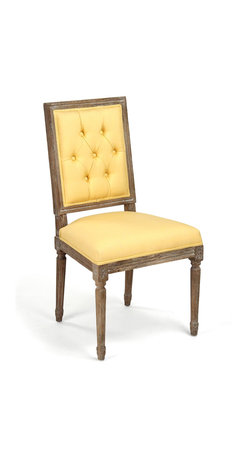 Kathy Kuo Home - Pair Louis XVI Yellow Tufted Linen Dining Side Chair - Combining old and new, an antique square-backed wood chair adds a modern splash of sunshine with yellow linen upholstery. The rich, brown finish highlights intricate details in the carved wood legs and frame of this streamlined seat.