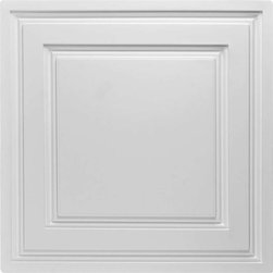 """Stratford Vinyl Ceiling Tile - White - Perfect for both commercial and residential applications, these tiles are made from thick .03"""" vinyl plastic. Their lightweight yet durable construction make these tiles easy to install. Waterproof, these tiles are washable and won't stain due to humidity or mildew. A perfect choice for anyone wanting to add that designer touch at an amazing price."""