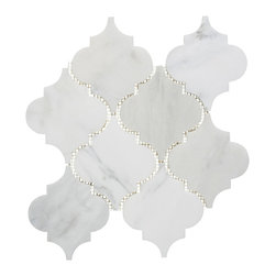 Mission Stone Tile - Stone Arabesque Marble Tile Mosaic, Honed, 1 Square Foot - Stone Arabesque Oriental White Marble is suitable for medium-duty residential floors and areas with normal footwear. Great for kitchens, bathrooms and backsplash tile!