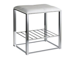 Windisch - Chrome Bathroom Stool with White Leather Top and Shelf - Contemporary style stool with white leather top and shelf.