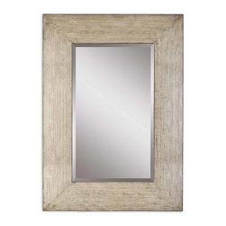 "Uttermost - Langford Natural Wood Mirror - This Stately Mirror Features A Generous 10"" Wide Frame With A Heavily Distressed Natural Wood Finish And A Light Gray Wash. Mirror Has A Generous 1 1/4"" Bevel."