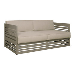 Mamagreen - Mamagreen Yuyup Sofa 2-Seater - The Yuyup sofa 2-seater slatted interpon combines highly weather resistant powder coated aluminum to create a linear edgy look also featuring Twitchell Leisutetex all weather upholstery and cushion fabric. Available in a variety of aluminum base and Leisuretex Cushion.