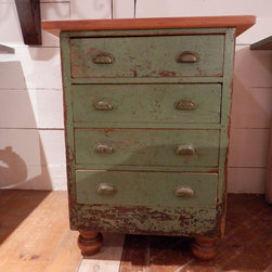"""Antique Kitchen Island - This nice small green island has been created from and old set of workshop drawers we added hand turned bun feet and a reclaimed pine wood top, perfect for a small kitchen. Approx: 28 1/2"""" L X 28 1/2 """" W X 36"""" H"""