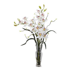 """Nearly Natural - Cymbidium Silk Flower Arrangement - Reaching skyward with rich color. Will look perfect in any environment. A guaranteed favorite. Construction Material: Polyester material, Iron wire, Resin, Glass. 23 in. W x 14 in. D x 30 in. H ( 3.5 lbs. ). Pot Size: 3.25 in. W x 10 in.HThe perfect gift for any occasion, this Cymbidium provides a lovely display that any flower lover could appreciate.  These colorful orchids are rich in color, and reach skyward, showing more """"green leaf"""" than most standard orchids.  These desirable flowers would look perfect in any type of environment, and are complimented by a simple, but practical vase and """"liquid illusion"""" water.  A guaranteed favorite that is easy to manage."""