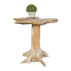 Quito Accent Table - There is about the Quito Accent Table a pure, spare beauty like that of pristine woodland. Crafted from natural, solid teak wood, the table displays a tree-trunk inspired shape and neutral coloration that blend handsomely with a transitional decor. Ideally sized for placement within a great room, guest cottage, or mudroom.