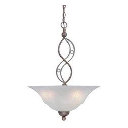 Toltec Lighting - Bronze Finish 3 Bulb Uplight Pendant with White Marble Glass - 3 medium base 100 watt bulb(s) (not included).