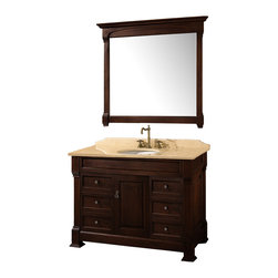 Wyndham - Andover 48in. Bathroom Vanity Set - Dark Cherry - A new edition to the Wyndham Collection, the beautiful Andover bathroom vanity series represents an updated take on traditional styling. The Andover is a keystone piece, with strong, classic lines and an attention to detail.
