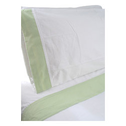 "100% Egyptian Cotton Sheet Set - White w/ Green Trim, Queen - 100% Egyptian Cotton 410 thread count customized sheet sets that coordinate with our Tuck Me In Good Night Bedding Retainment System. Our oversized flat sheets offer an additional 10"" in length to provide for full coverage and comfort. They also include a special sewn sleeve/slot to receive the Tuck Me In retainment rod. Your sheets will never get untucked again  - we guarantee it or your money back!"