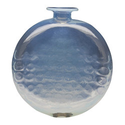 Dynasty Gallery - Handmade Glass Moon Vase - Milky and translucent, this mouth-blown vase is celestial, as if a piece of the sky was placed atop a surface in your home. Perfectly suited for flowers or as a stand-alone sculpture, this handmade vase makes a quiet yet dramatic statement.