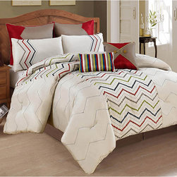 None - Maya 8-piece Oversized Comforter Set - A whimsical ensemble with a graceful,European style,the Maya collection is an elegant addition to any  bedroom decor. The set features a dot design expertly embroidered in a classic style on a tan base with a beautiful array of blue,green and red.