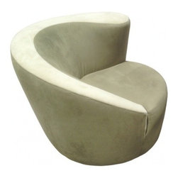 ecofirstart - Vladimir Kagan Nautilus Chair - Give your sitting room a bit of intrigue with this asymmetrical lounge chair, designed by iconic 20th Century designer Vladimir Kagan. This luxe chair features sage green silk velvet upholstery, with a stripe of lighter fabric along the top for contrast. Sleek and sculptural, this chair is set on a corkscrew base that allows an 180-degree swivel.